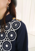 Asymmetry Embroidered Layer Shirt