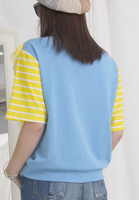 Mixed Fabric Striped Sleeves Tee
