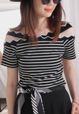 Waved Collar Pinstriped Top