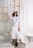 (Korean) Contrast Stitch Canvas Fabric Skirt – White, BOTTOMS, KOREAN, Drive Store