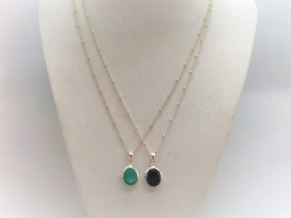 Sterling Silver Black & Green Onyx Station Necklace