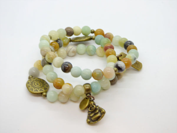 Amazonite and Ocean Jasper Single Bracelet