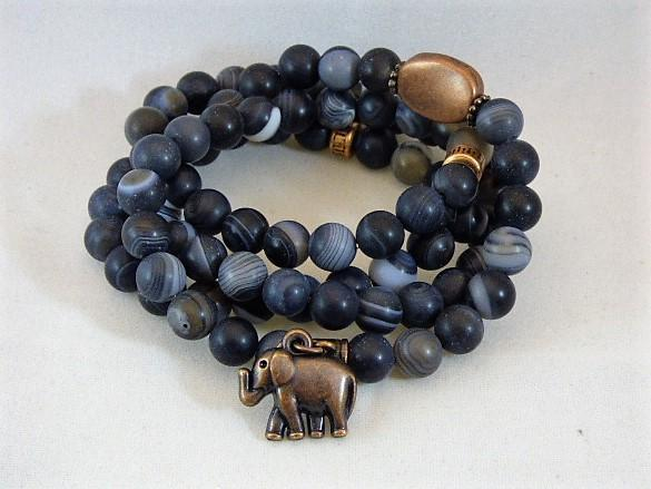 Black Matte agate necklace bracelet elephant charm copper