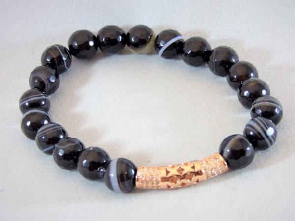 Black Agate Tube Bracelet