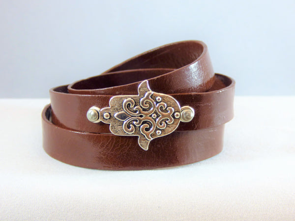 Leather Hamsa Bracelets