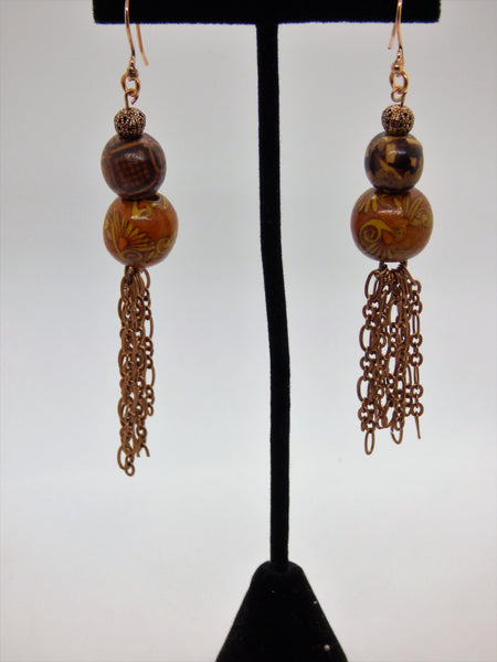 Wood and Copper Earrings