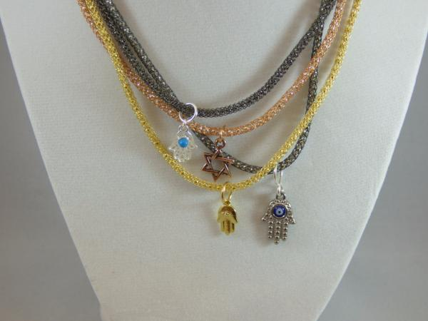 All short knitted necklaces Bat Mitzvah Gift Gold Copper Hematite and Sterling
