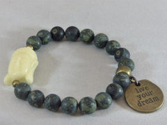 Single Green Matte Rhyolite Stretch Bracelet