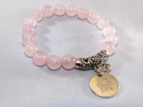 Rose Quartz Single Stretch Gemstone bracelet live laugh love charm
