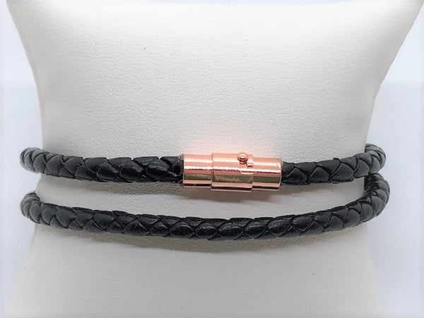 Braided men's unisex black leather wrap with copper, gunmental, silver or gold magnetic clasp