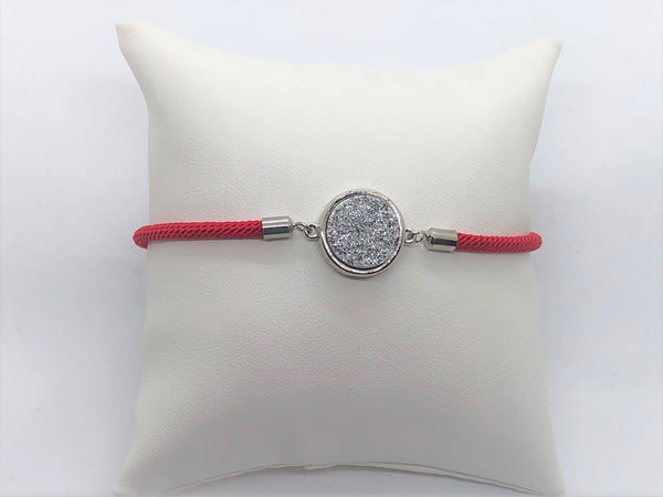 Adjustable Silver Druzy Bracelet