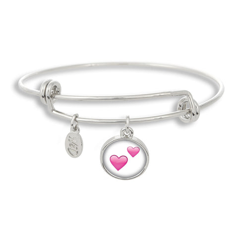 Emoji Two Pink Hearts Adjustable Band Charm Bangle Bracelet - Handcrafted USA