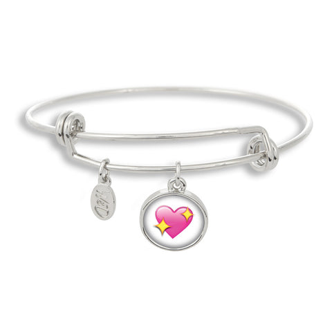 Emoji Sparkle Heart Adjustable Band Charm Bangle Bracelet - Handcrafted USA