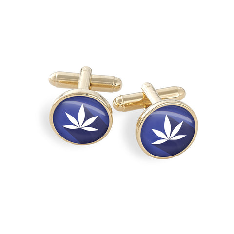 Hamilton Gold Cufflink Set featuring the Cannabis Icon-O-Pop Collection Artwork (MaryJ Blue)