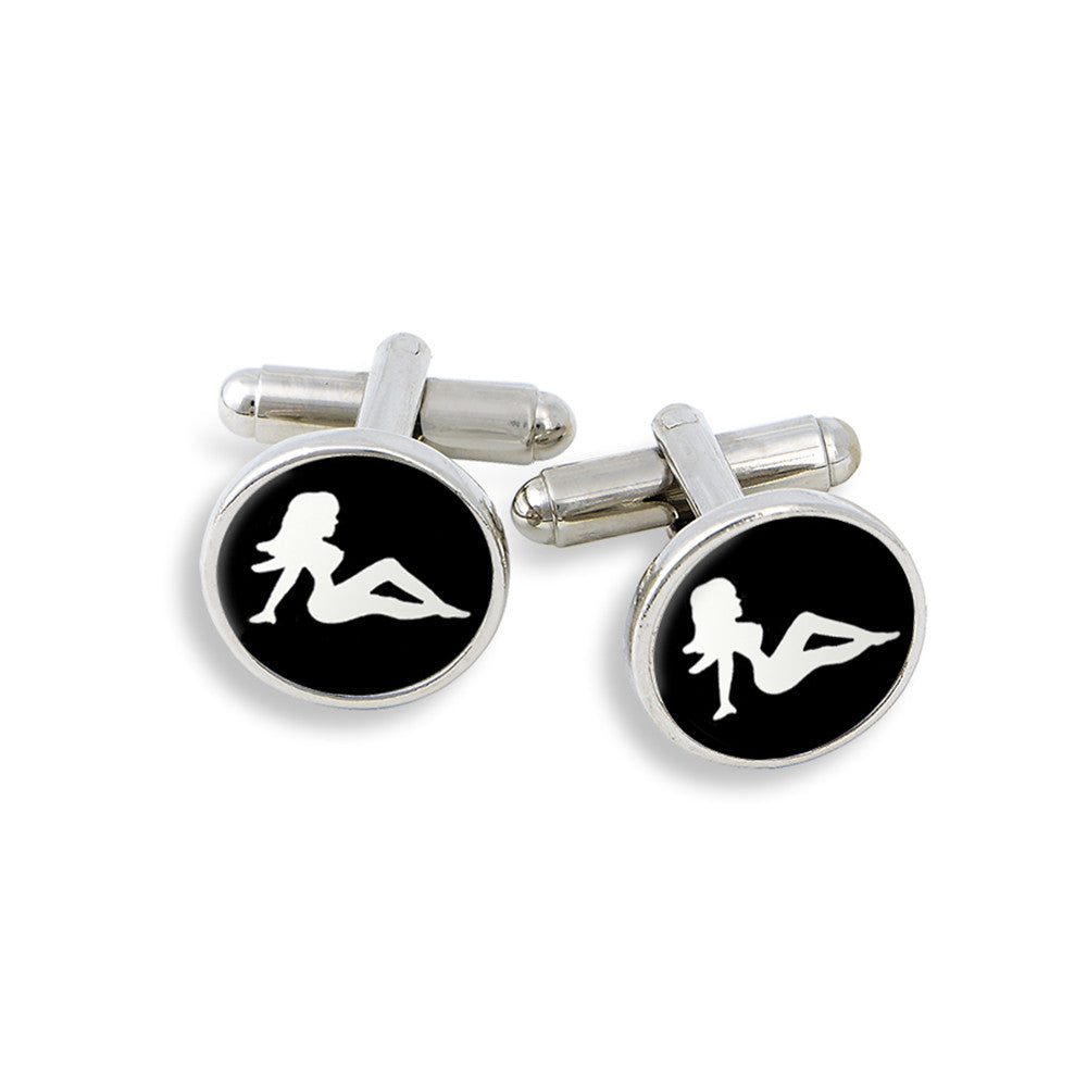 SilverTone Cufflink Set featuring the Trucker Mud Flaps