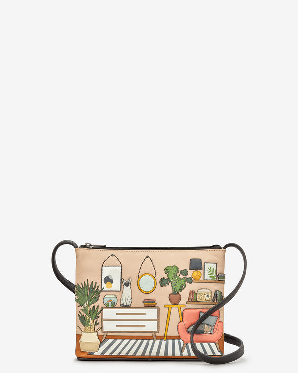 Cat Lounge Leather Cross Body Bag