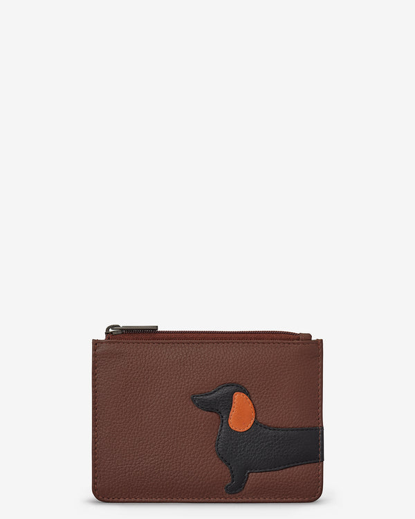 Delilah The Dachshund Zip Top Leather Purse