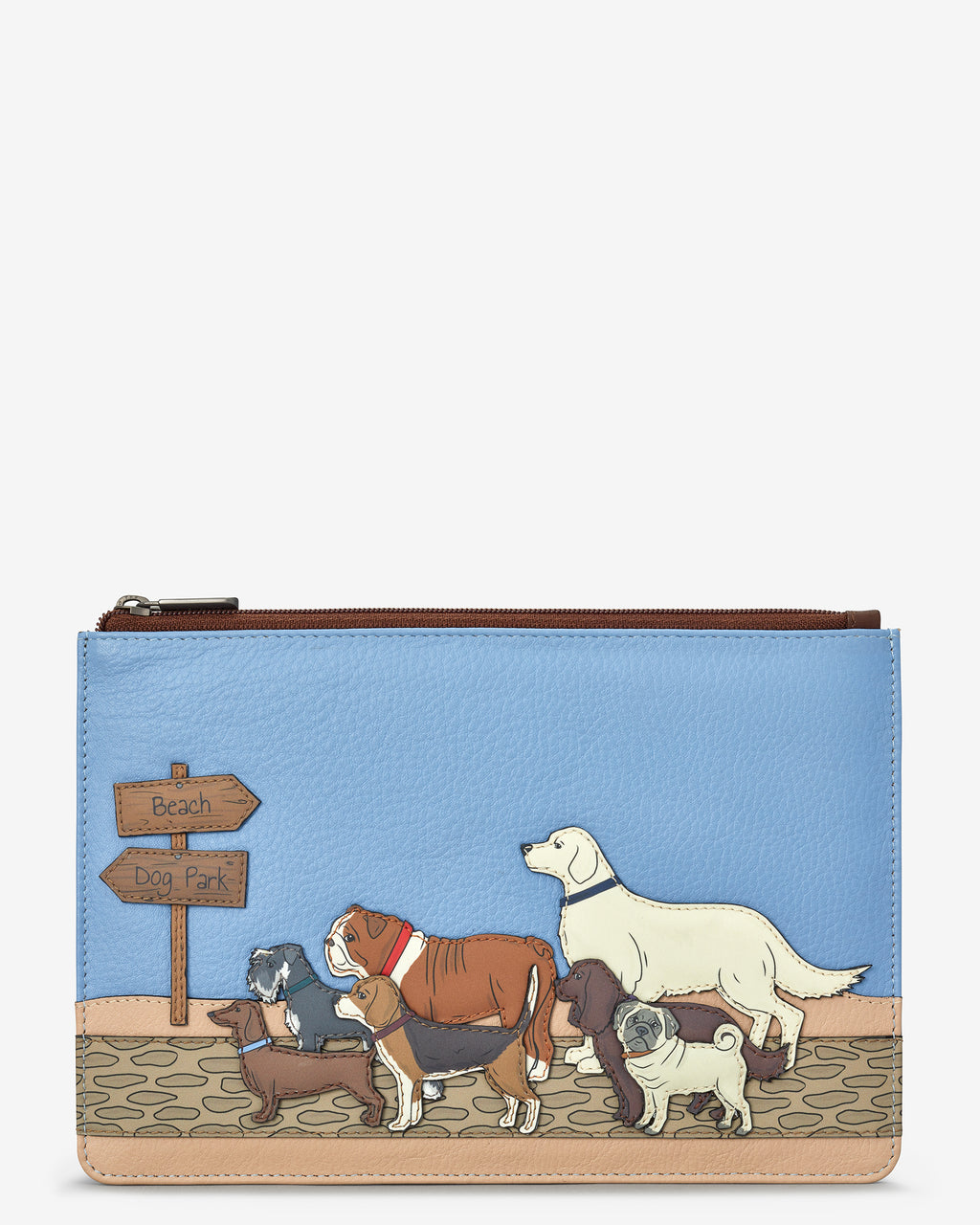 Dog Walk Zip Top Leather Pouch