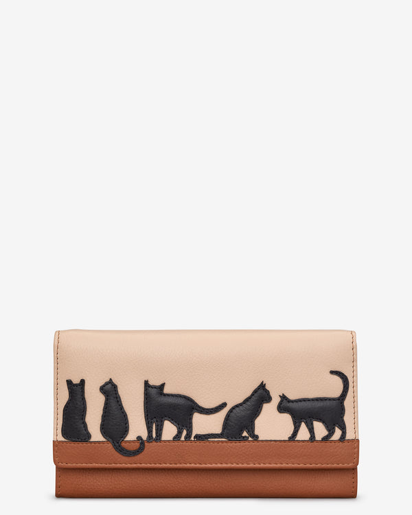 Clowder of Cats Flap Over Leather Matinee Purse