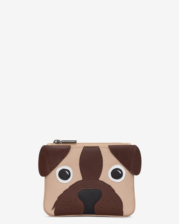 Percy the Pug Zip Top Leather Purse