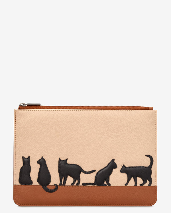 Clowder of Cats Zip Top Leather Pouch