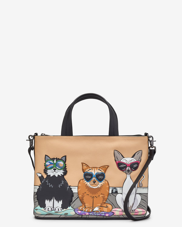 Cool For Cats Leather Grab Bag