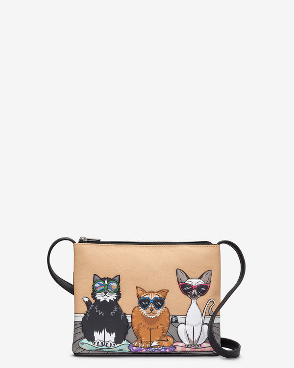 Cool for Cats Leather Cross Body Bag