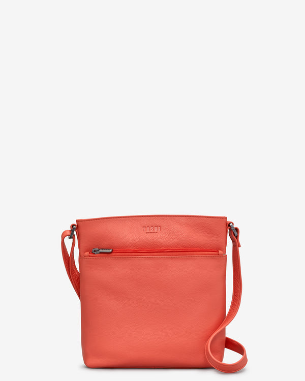 Garrick Coral Leather Cross Body Bag