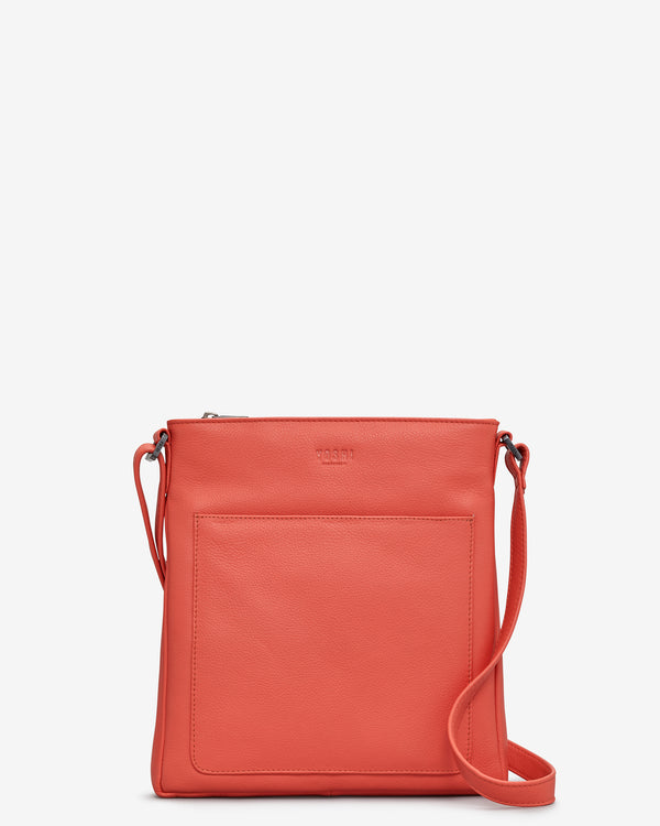 Bryant Coral Leather Cross Body Bag