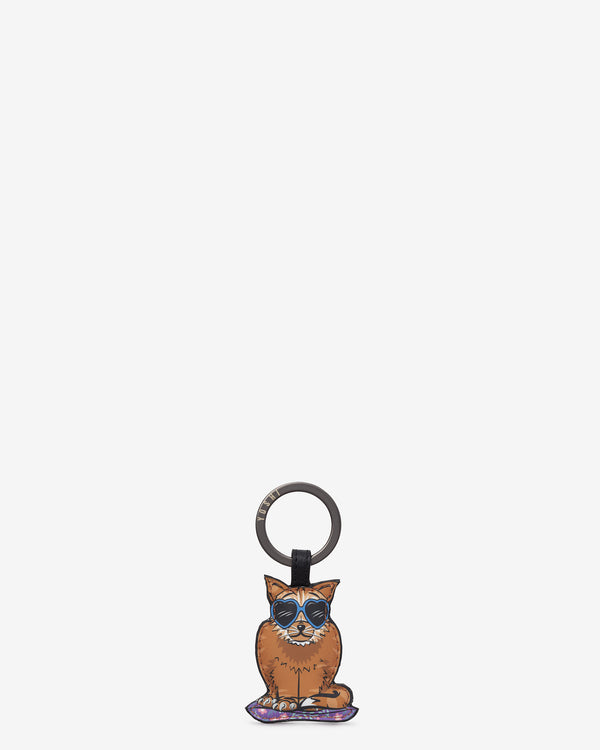Cool For Cats Leather Keyring - Cat C