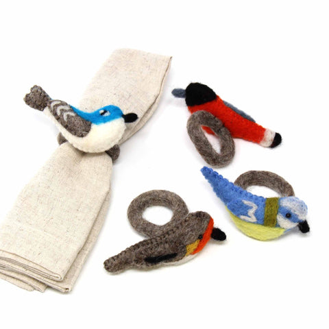 Hand-felted Bird Napkin Rings, Set of Four Colors - Global Groove (T)