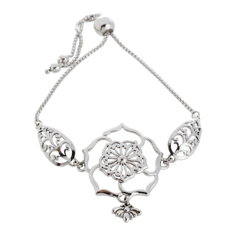 Filigree Flower and Leaf with Bee Drop Adjustable Box Chain Bracelet