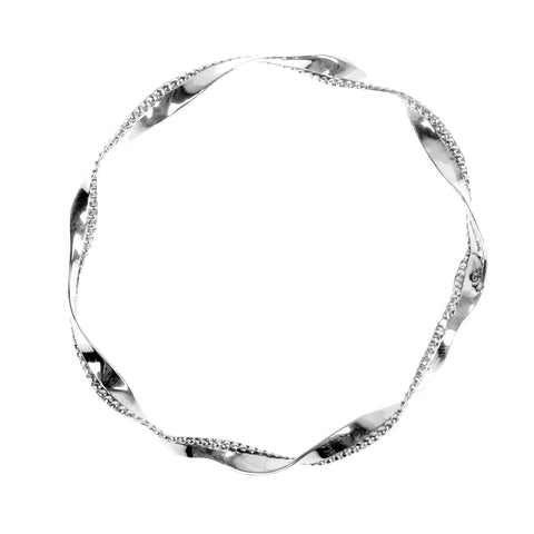 Oxidized Beaded Twist Bangle