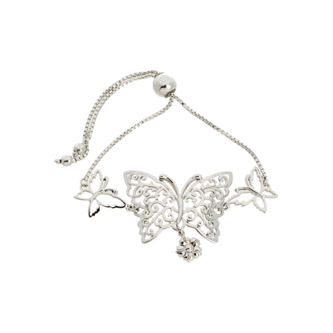 Filigree Butterfly with Flower Drop Adjustable Box Chain Bracelet