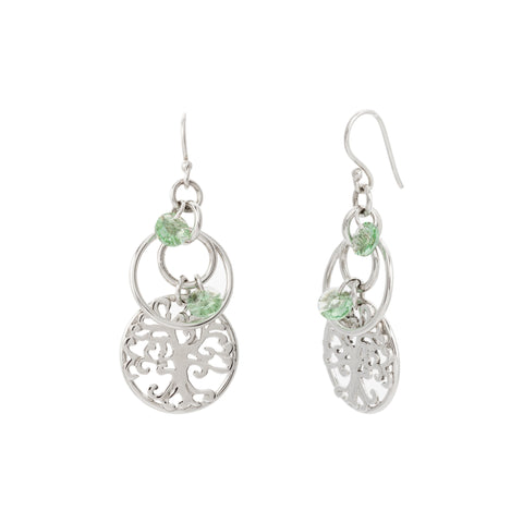 Round Filigree Tree of Life with Swarovski® Crystal Layered  Drop Earring