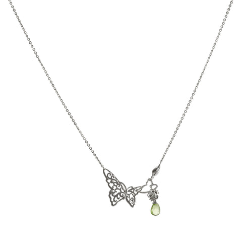 Filigree Butterfly with Peridot and Flower Drop Necklace