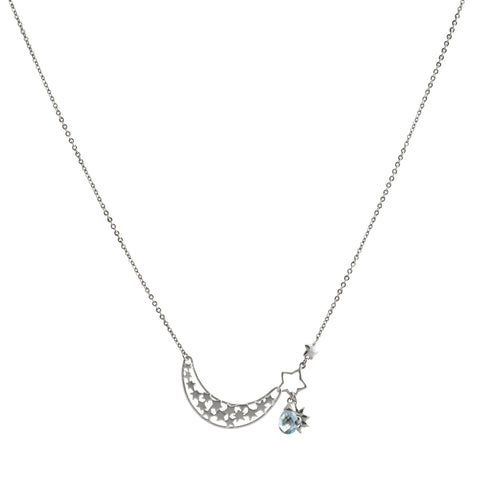 Filigree Crescent Moon with Aquamarine Swarovski® Crystal and Sun Drop Necklace