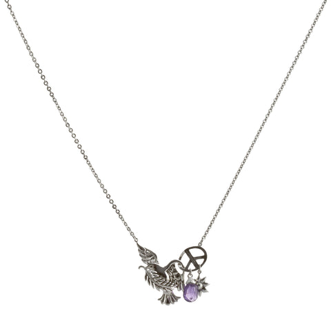 Dove and Olive Branch with Amethyst and Flower Drop Necklace