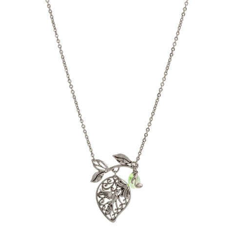 Small Filigree Leaf with Peridot and Music Note Drop Necklace