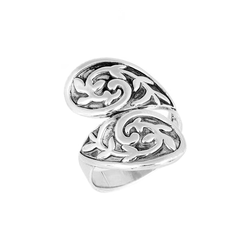 Oxidized Paisley Bypass Ring