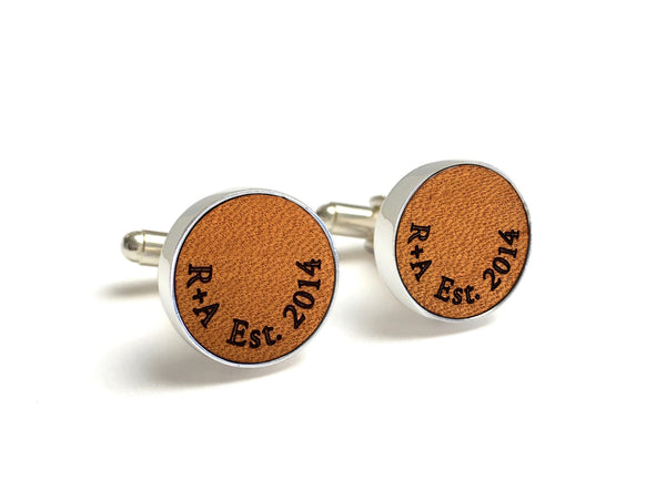 3 Year Anniversary Gifts For Him - Personalized Leather Cufflinks