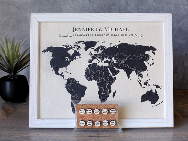 Adventuring Together- Cotton Map with Personalized Pins