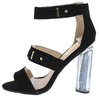 Alia02a Black Open Toe Three Strap Glitter Lucite Heel - Wholesale Fashion Shoes