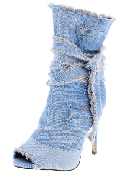 Summer195 Light Denim Distressed Frayed Bow Ankle Boot - Wholesale Fashion Shoes