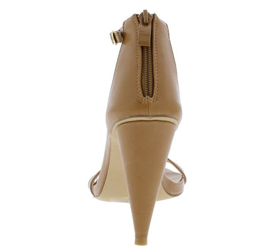 Conical11 Tan Pu Pointed Toe Ankle Strap Tapered Heel - Wholesale Fashion Shoes