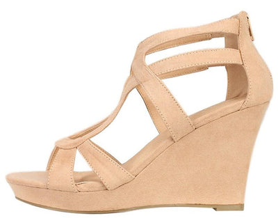 Domino Camel Suede Women's Wedge - Wholesale Fashion Shoes