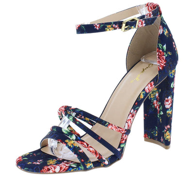 Elsi20 Blue Multi Fabric Strappy Open Toe Ankle Strap Heel - Wholesale Fashion Shoes