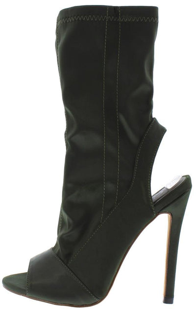 Ruby103 Olive Peep Toe Rear Cutout Boot - Wholesale Fashion Shoes