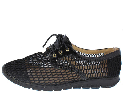 Jumpy04 Black Lace Up Mesh Sneaker Flat - Wholesale Fashion Shoes