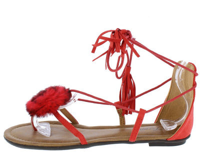 Kindly3 Red Thong Pom Pom Ghillie Ankle Tie Sandal - Wholesale Fashion Shoes